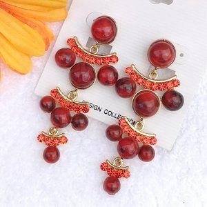Boho Earrings Coral Bead Rhinestone Post Drop NWT